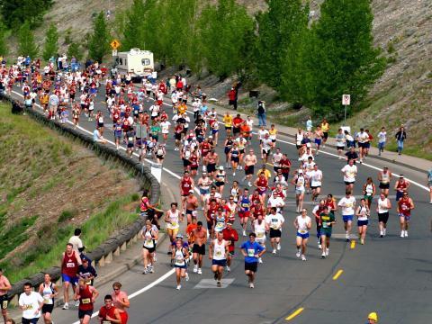 Corredores en una vuelta en Bloomsday Run, que se celebra en mayo