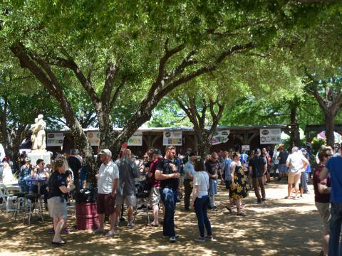 Bebiendo cerveza artesanal bajo los árboles durante el Main Street Fest en Grapevine, Texas