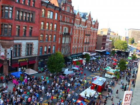 Aerial view of PearlPalooza street festival in Albany, New York